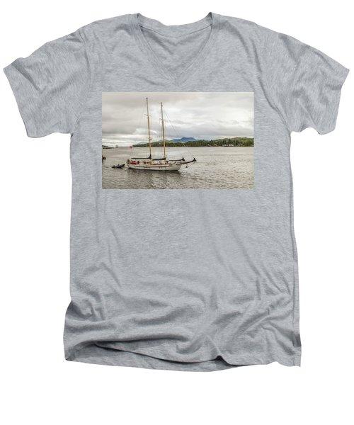 Canadian Sailing Schooner Men's V-Neck T-Shirt by Timothy Latta