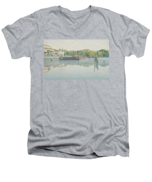 Men's V-Neck T-Shirt featuring the photograph Canal In Pastels by Everet Regal