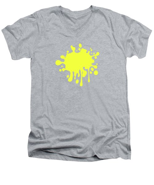 Canary Yellow Solid Color Decor Men's V-Neck T-Shirt by Garaga Designs