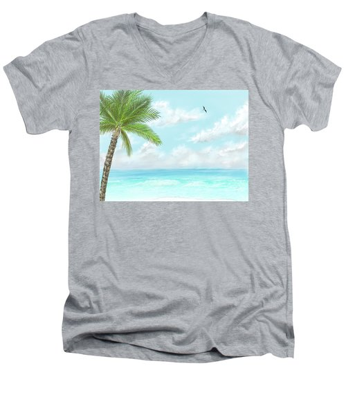 Men's V-Neck T-Shirt featuring the digital art Cancun At Christmas by Darren Cannell