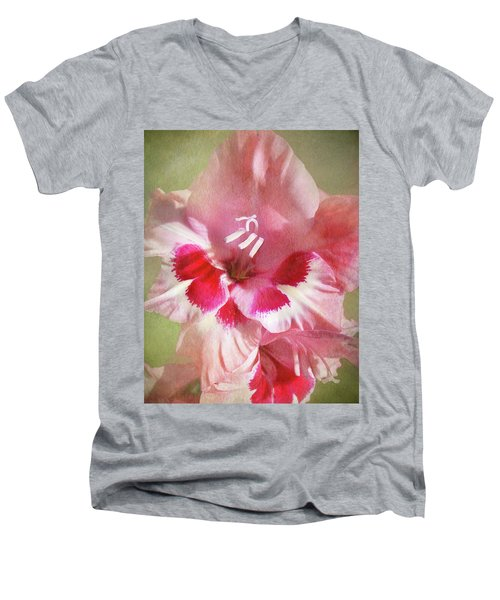 Candy Cane Gladiola Men's V-Neck T-Shirt