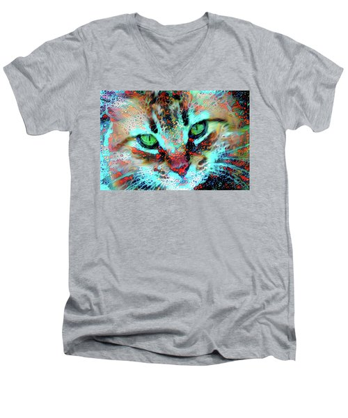 Candy The Colorful Green Eyed Cat Men's V-Neck T-Shirt