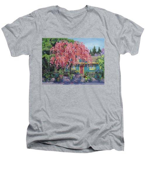 Candy Tree Men's V-Neck T-Shirt by Karen Ilari