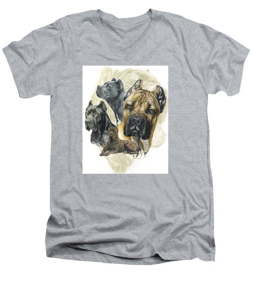 Cane Corso W/ghost Men's V-Neck T-Shirt by Barbara Keith