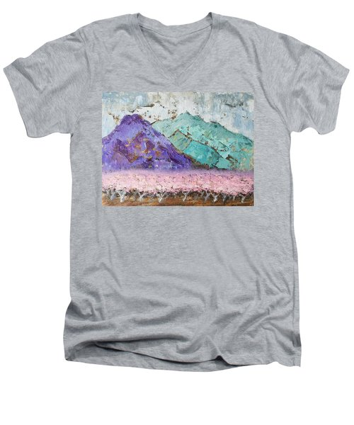 Canigou With Blooming Peach Trees Men's V-Neck T-Shirt