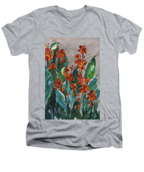 Men's V-Neck T-Shirt featuring the painting Cannas by Jamie Frier