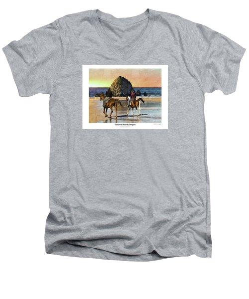 Cannon Beach Men's V-Neck T-Shirt by Kenneth De Tore