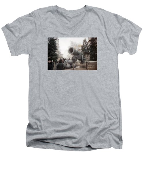 cannon in Moscow Men's V-Neck T-Shirt by Ted Pollard