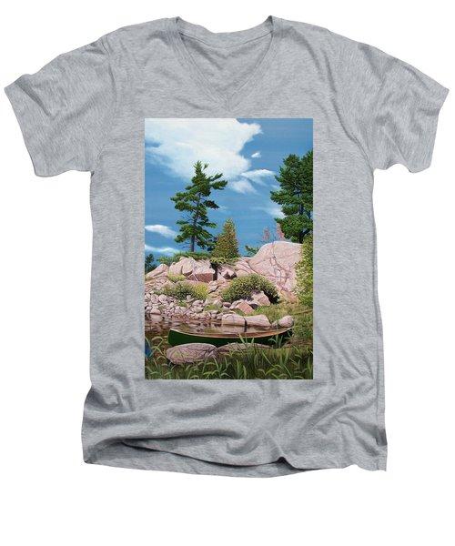Canoe Among The Rocks Men's V-Neck T-Shirt