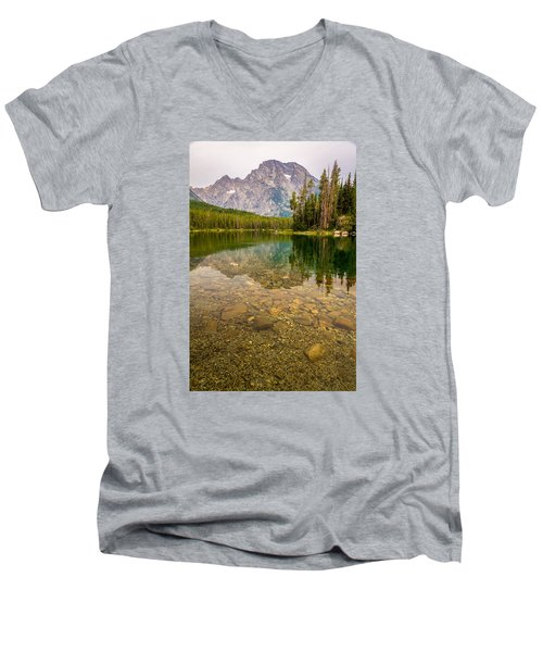 Canoe Camping In The Teton Range Men's V-Neck T-Shirt by Serge Skiba