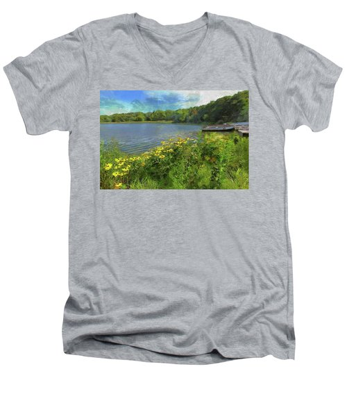 Canoe Number 9 Men's V-Neck T-Shirt by Cedric Hampton
