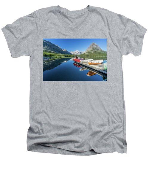 Canoe Reflections Men's V-Neck T-Shirt by Alpha Wanderlust