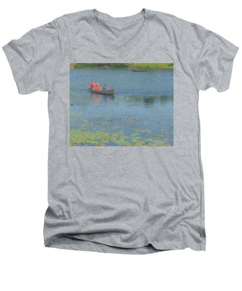 Canoes On Shovelshop Pond Men's V-Neck T-Shirt