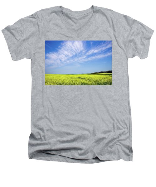 Canola Blue Men's V-Neck T-Shirt by Keith Armstrong