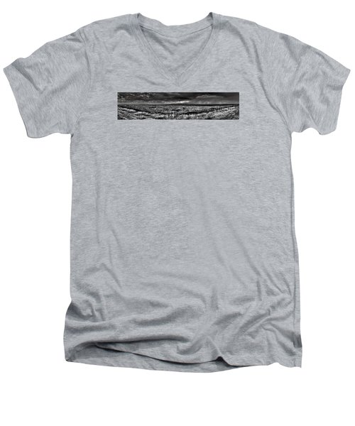 Men's V-Neck T-Shirt featuring the digital art Canon City Storm Pano by William Fields
