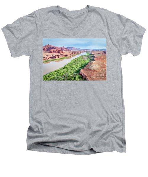 Canyon Of Colorado River In Utah Aerial View Men's V-Neck T-Shirt