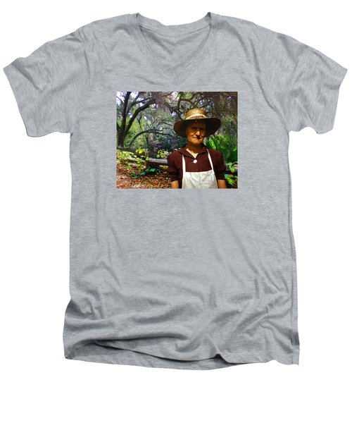 Men's V-Neck T-Shirt featuring the photograph Canyon Woman by Timothy Bulone