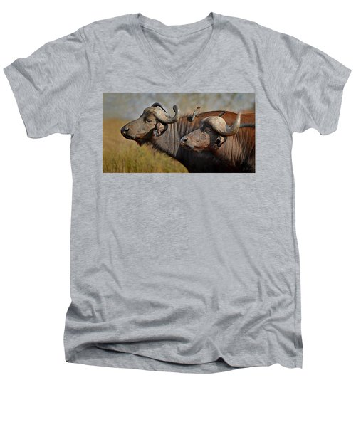 Cape Buffalo And Their Housekeeper Men's V-Neck T-Shirt