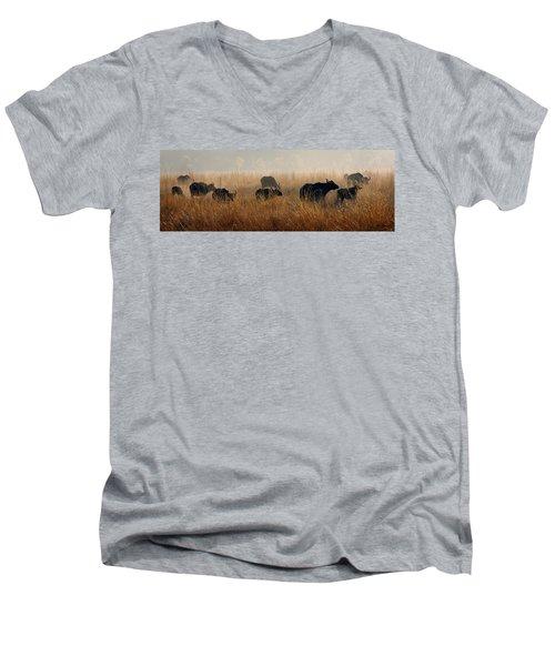 Cape Buffalo Herd Men's V-Neck T-Shirt by Joe Bonita