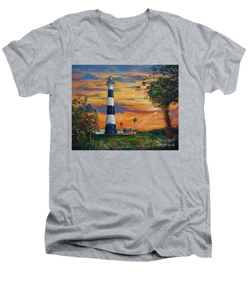 Cape Canaveral Light Men's V-Neck T-Shirt by AnnaJo Vahle