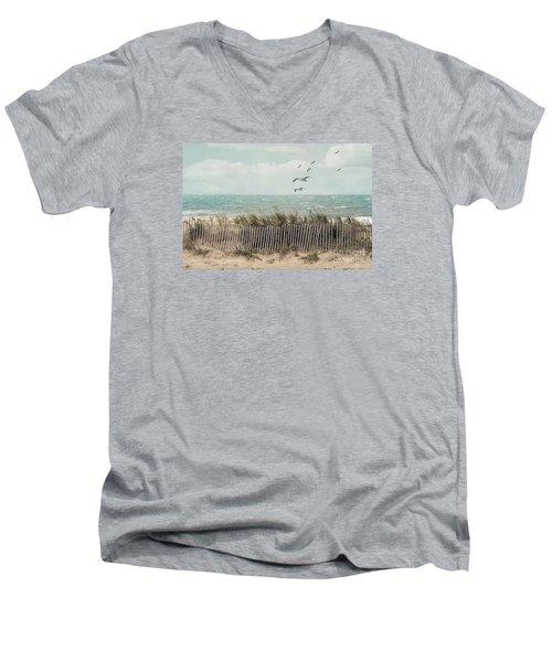 Cape Cod Beach Scene Men's V-Neck T-Shirt
