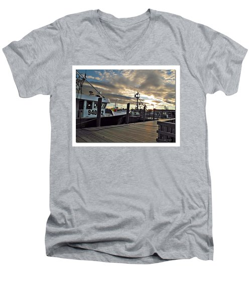 Men's V-Neck T-Shirt featuring the photograph Cape Cod Harbor by Joan  Minchak