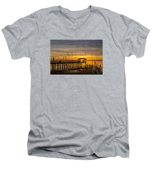 Men's V-Neck T-Shirt featuring the digital art Cape Fear Sunset Fort Fisher by Phil Mancuso