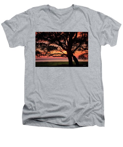Men's V-Neck T-Shirt featuring the photograph Cape Fear Sunset Overlook by Phil Mancuso