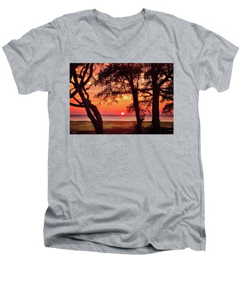 Men's V-Neck T-Shirt featuring the photograph Cape Fear Tranquility by Phil Mancuso