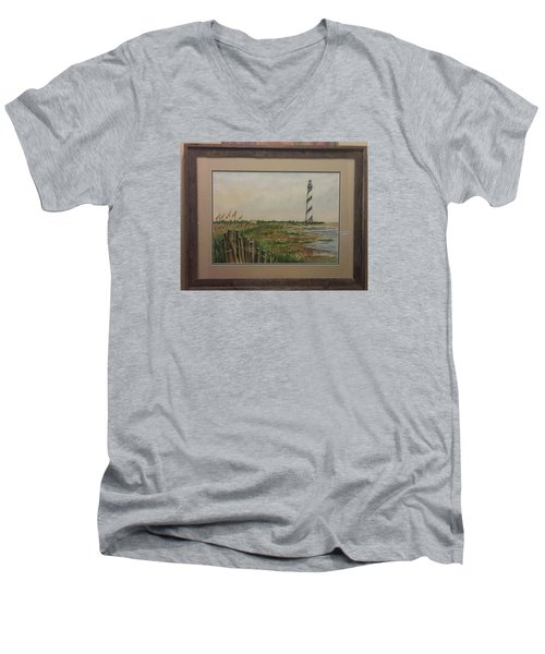 Men's V-Neck T-Shirt featuring the painting Cape Hatteras Light House by Richard Benson