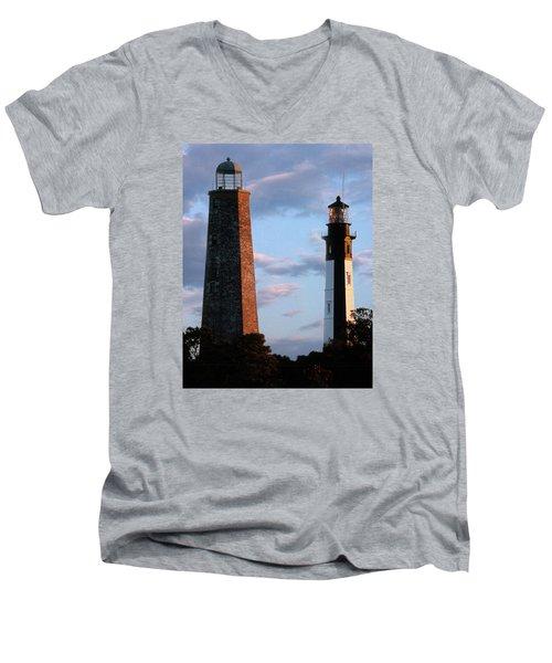 Cape Henry Lighthouses In Virginia Men's V-Neck T-Shirt by Skip Willits