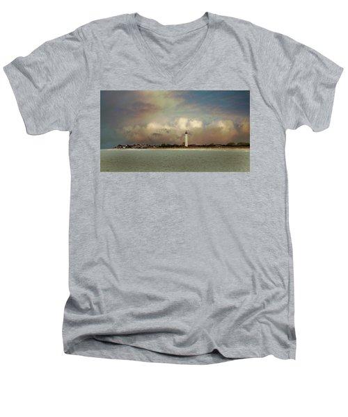 Cape May Lighthouse II Men's V-Neck T-Shirt by John Rivera