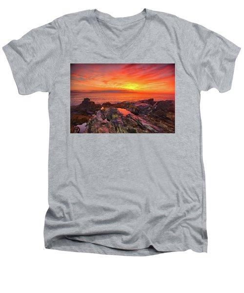 Cape Neddick Sunrise Men's V-Neck T-Shirt