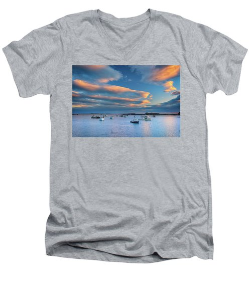 Men's V-Neck T-Shirt featuring the photograph Cape Porpoise Harbor At Sunset by Rick Berk