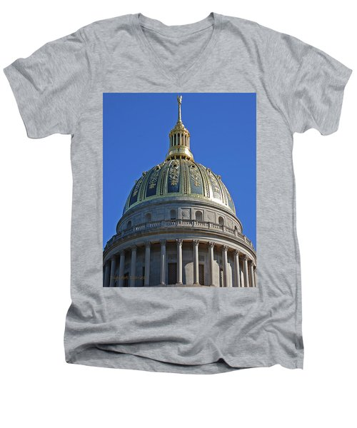 Capitol Dome Charleston Wv Men's V-Neck T-Shirt by DigiArt Diaries by Vicky B Fuller
