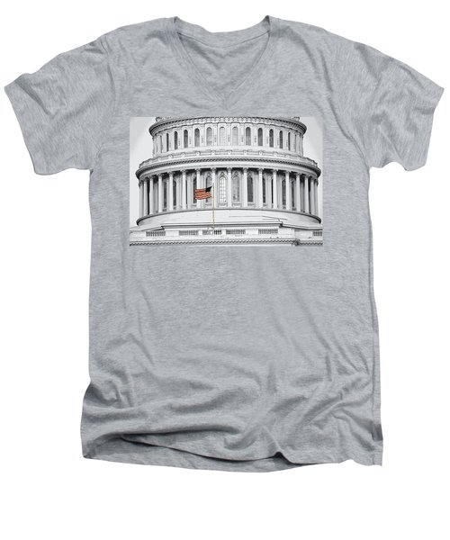 Men's V-Neck T-Shirt featuring the photograph Capitol Flag by John Schneider