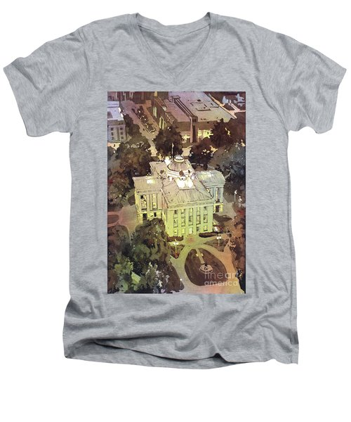Men's V-Neck T-Shirt featuring the painting Capitol Of Stupid- Raleigh, Nc by Ryan Fox