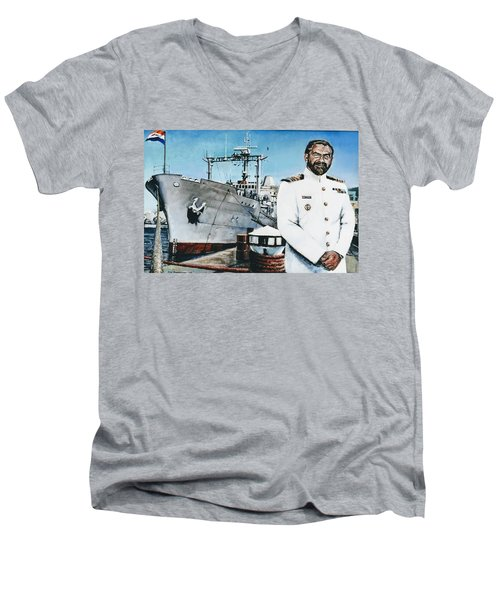 Capt Eric Green Men's V-Neck T-Shirt by Tim Johnson