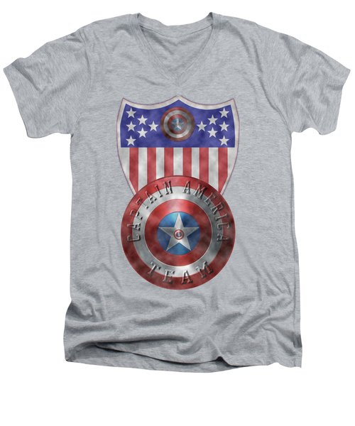 Captain America Shields On Gold  Men's V-Neck T-Shirt