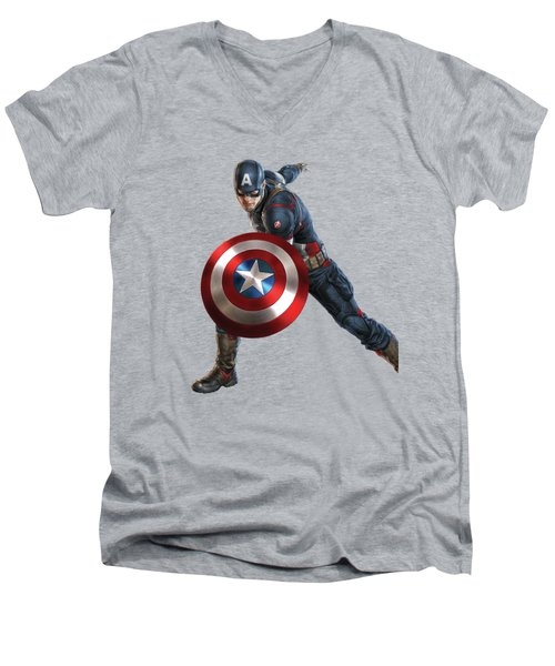 Men's V-Neck T-Shirt featuring the mixed media Captain America Splash Super Hero Series by Movie Poster Prints