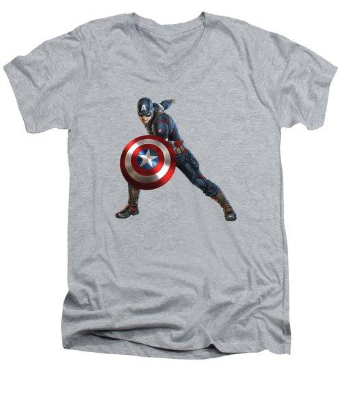 Captain America Splash Super Hero Series Men's V-Neck T-Shirt