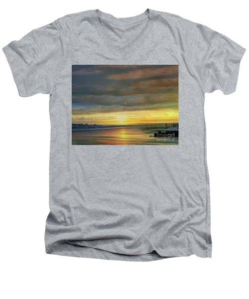 Captivating Sunset Over The Harbor Men's V-Neck T-Shirt by Judy Palkimas