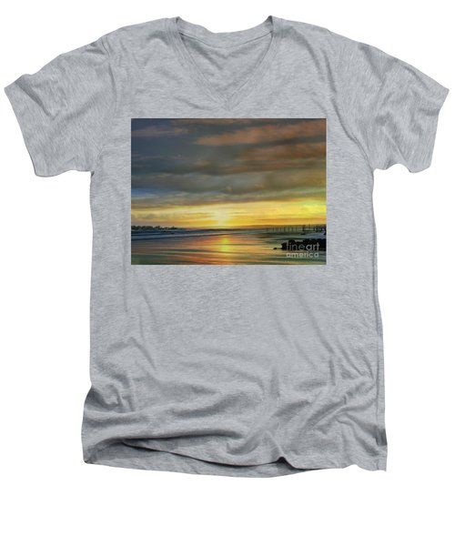 Captivating Sunset Over The Harbor Men's V-Neck T-Shirt