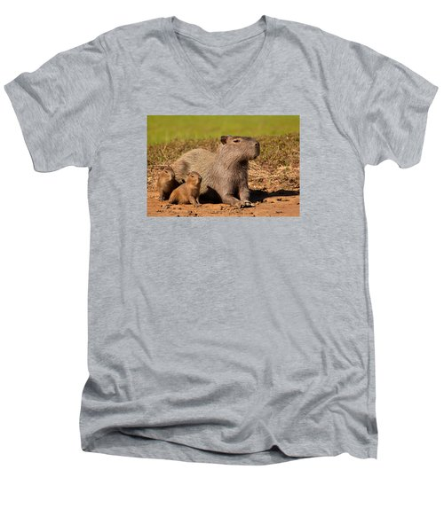 Capybara Family Enjoying Sunset Men's V-Neck T-Shirt