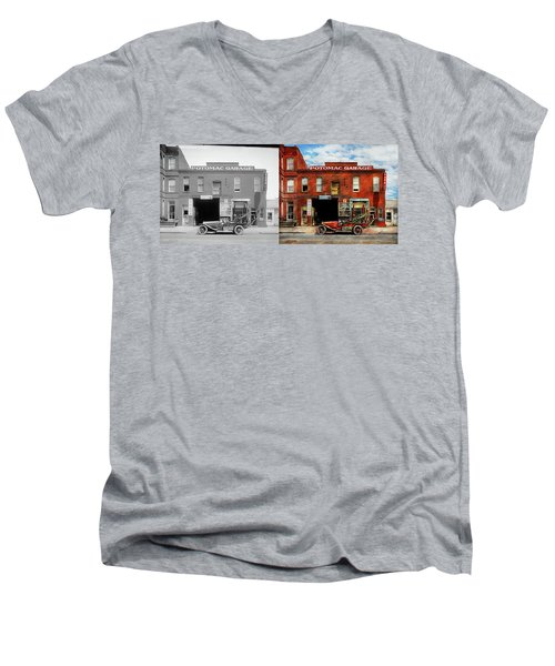 Men's V-Neck T-Shirt featuring the photograph Car - Garage - Misfit Garage 1922 - Side By Side by Mike Savad
