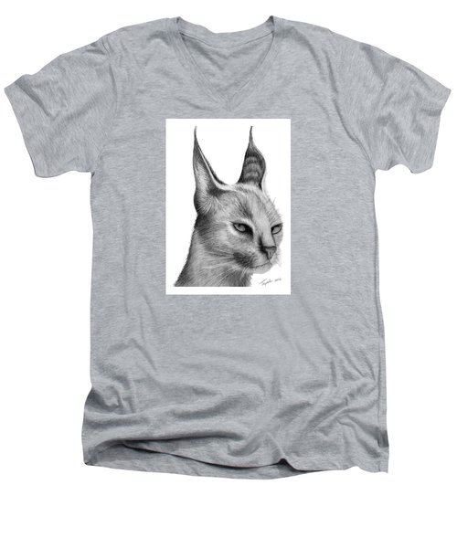Caracal Men's V-Neck T-Shirt by Lawrence Tripoli