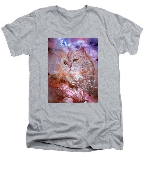 Caramel Cream Men's V-Neck T-Shirt by Sherry Shipley