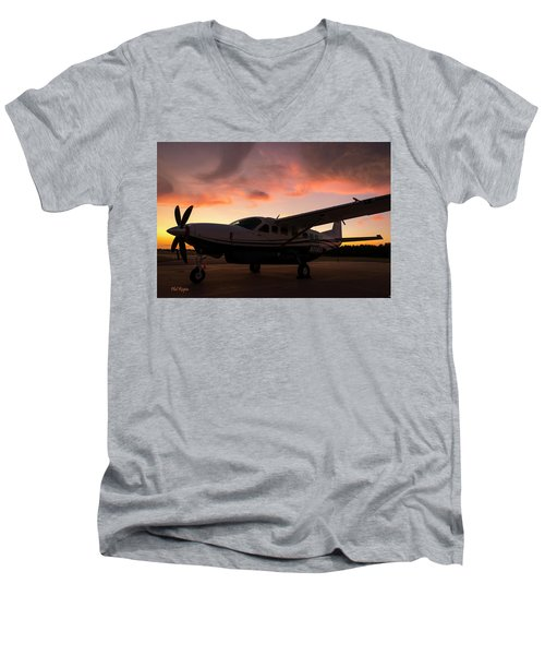 Caravan On The Ramp In The Sunset Men's V-Neck T-Shirt