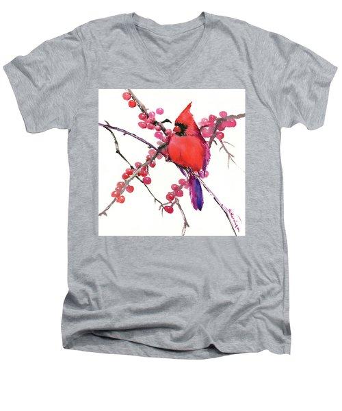 Cardinal And Berries Men's V-Neck T-Shirt by Suren Nersisyan