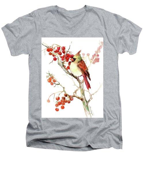 Cardinal Bird And Berries Men's V-Neck T-Shirt
